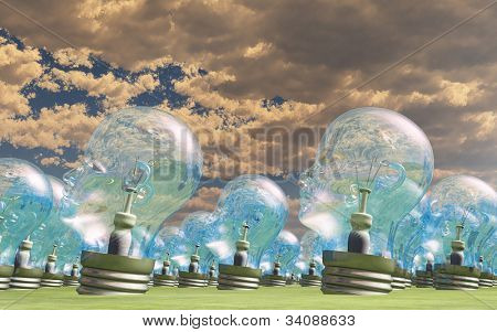Group of human head lightbulbs in landscape