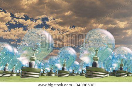 Group of human head lightbulbs in landscape