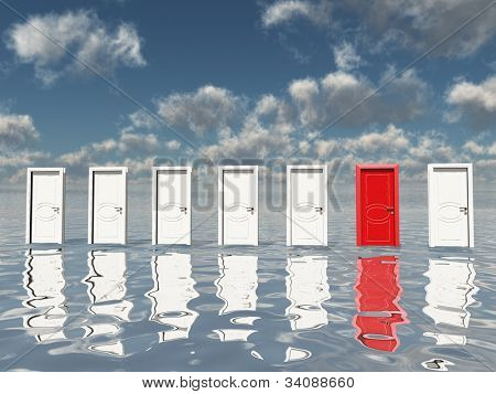 Sigle red door among several floating doorsin surreal landscape or silvery water and blue sky