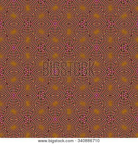 Floral Continuous Pattern In Beige And Ocher. Heartsease Cells Background.