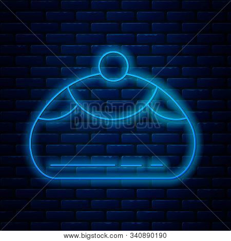 Glowing Neon Line Jewish Sweet Bakery Icon Isolated On Brick Wall Background. Hanukkah Sufganiyot. J