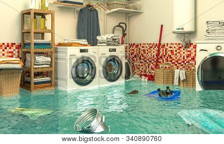 3d render image of an interior of a flooded laundry. Concept of home problems.