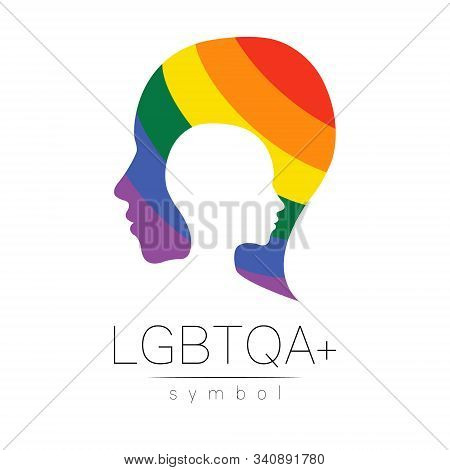 Vector Lgbtqa Symbol. Pride Flag Background. Icon For Gay, Lesbian, Bisexual, Transsexual, Queer And