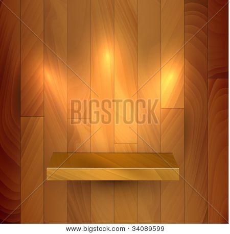 Vector wooden empty realistic bookshelf with lights illustration
