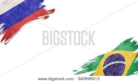 Flags Of Russia And brasil On White Background