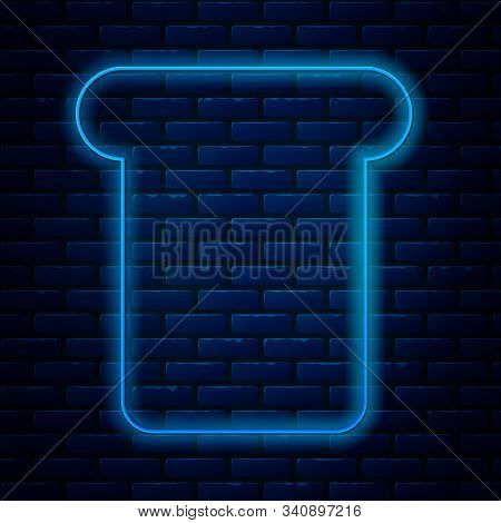 Glowing Neon Line Bread Toast For Sandwich Piece Of Roasted Crouton Icon Isolated On Brick Wall Back