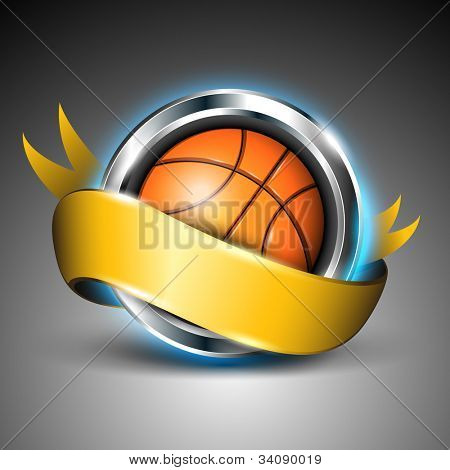Shiny steel circle with basket ball and yellow ribbon isolated on grey background. EPS 10. poster