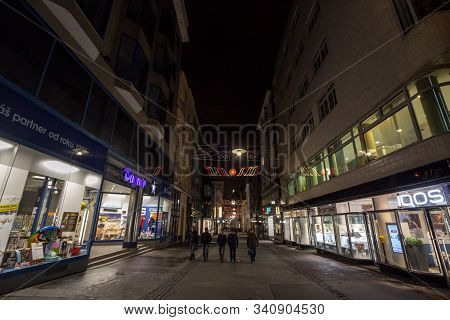 Brno, Czechia - November 5, 2019: Youngsters, Czech Teenagers, Walking In A Deserted Pedestrian Stre
