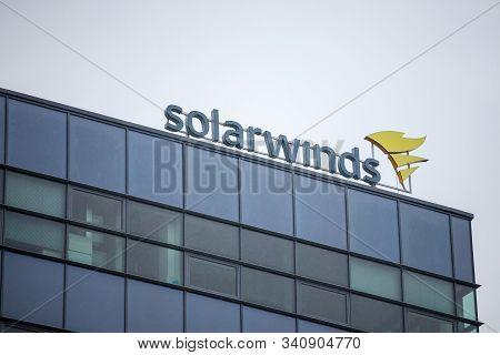 Brno, Czechia - November 5, 2019: Solarwinds Logo In Front Of Their Office For Brno. Solarwinds Is A