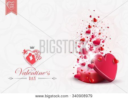 A Light Composition With A Red Casket And Randomly Drawn By A Set Of Hearts