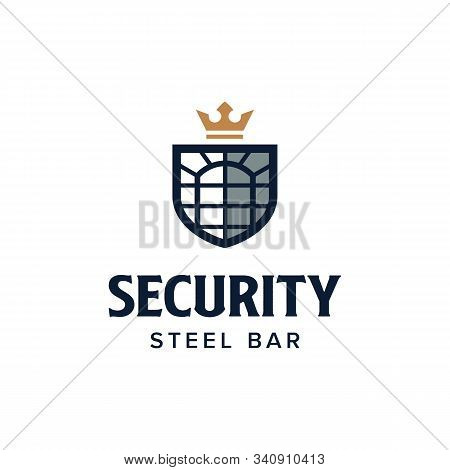 Window Security Logo. Steel Bar Home Shield Protection. Branding For Home Security, Home Protection,