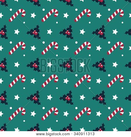 Candy Cane Seamless Pattern. Christmas Symmmetry Texture. Designs For Wrap, Pack, Cover, Cards, Gift