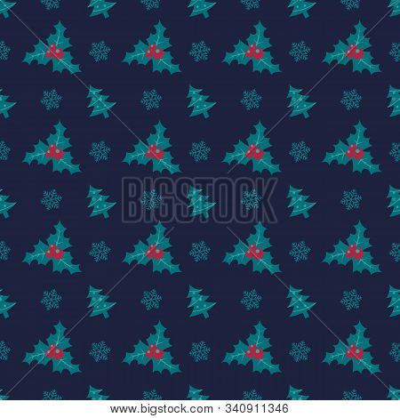 Holly Berry Seamless Pattern. Christmas Symmmetry Texture. Designs For Wrap, Pack, Cover, Cards, Gif