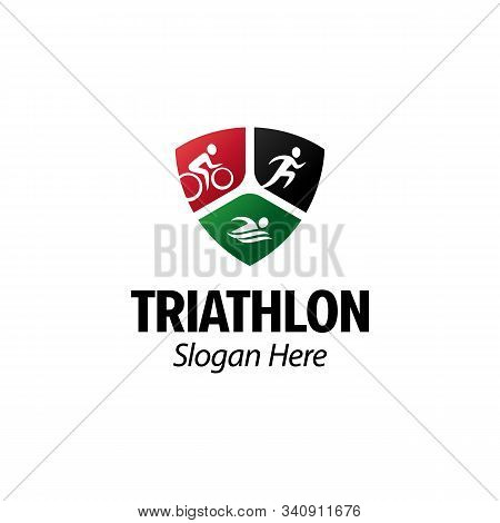 Triathlon logo iconic. Running cycling swimming. Branding for triathlon sports, clubs, championship, contest, accessories, equipment, etc. Shield emblem. Isolated logo inspiration. Graphic designs
