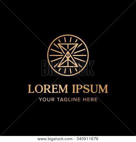 Hourglass Logo. Ancient Greek Style. Branding For Professional Luxury Elegant Company, Antique, Vint