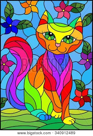 Illustration In Stained Glass Style With A   Rainbow Cute Cat On A Background Of Meadows, Bright Flo