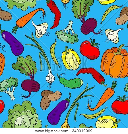 Seamless Pattern On The Theme Of Vegetables And Healthy Food, Ripe Bright Vegetables On A Blue Backg
