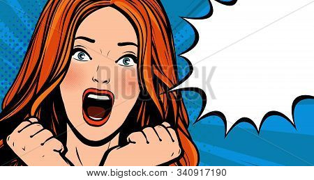 Beautiful Girl Screams With Delight. Pop Art Retro Comic Style. Cartoon Vector Illustration