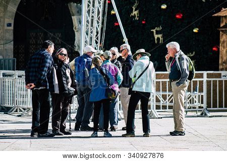 Palestinian Territory Bethlehem December 16, 2019 View Of Unidentified Tourists Visiting The City Of