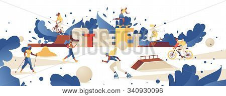 Concept Illustration With Lettering 3d Letters Street And Different Outdoor Park Activities Like Rol