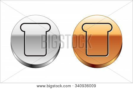 Black Line Bread Toast For Sandwich Piece Of Roasted Crouton Icon Isolated On White Background. Lunc