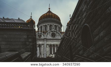 Golden Domes Of A Christian Temple In Russia, A Full-length Temple. The Church Of The Christian Chur