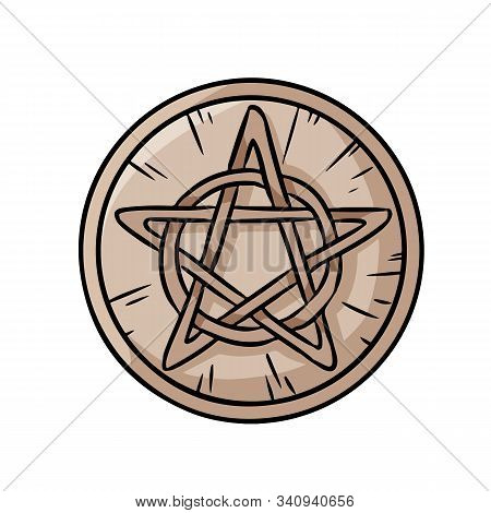 Pentacle Occult Sign In A Circle. Wooden Pentagram Hand Drawn Magic Doodle. Isolated Vector Pagan Wi