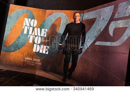 Bangkok, Thailand - Dec 20, 2019: James Bond 007 No Time To Die Movies Advertising On Backdrop Poste