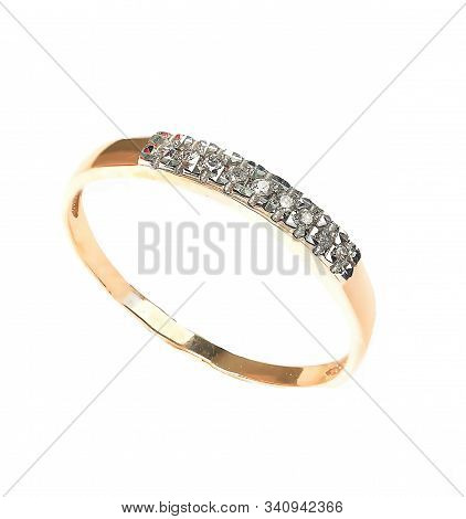 Jewelry Ring Isolated On The White Background. Gold Ring With Gem. Engagement Or Wedding Accesories