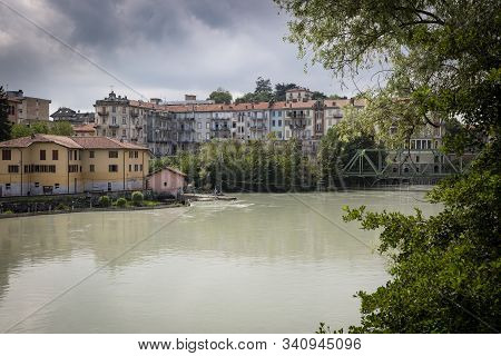 The Dora Baltea River In Ivrea City, Torino, Region Piemonte, Italy