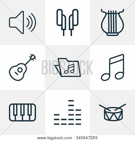 Multimedia Icons Line Style Set With Notes, Folder, Mixer And Other Audio Level Elements. Isolated V