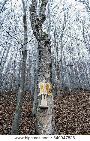 Symbolic Wooden Angel Is Hanging On The Tree, Strazov Hill, Strazov Mountains In Slovak Republic. Se