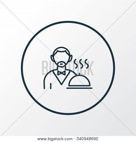 Waiter Icon Line Symbol. Premium Quality Isolated Servant Element In Trendy Style.