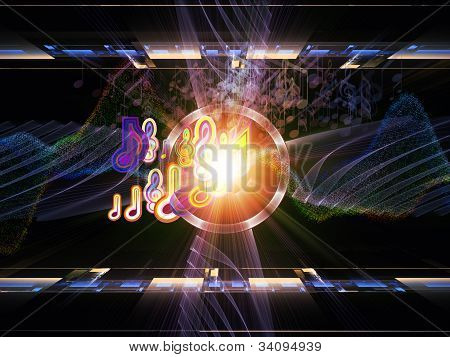 Backdrop on the subject of music sound equipment and processing audio performance and entertainment composed of musical notes perspective fractal grids lights wave and sine patterns poster