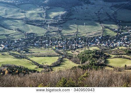 Horna Poruba Village From Vapec Hill, Strazov Mountains In Slovak Republic. Seasonal Natural Scene.