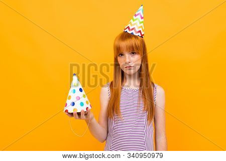 Everyone Forgot About Beautiful Caucasian Girls Birthday, Picture Isolated On Yellow Background.
