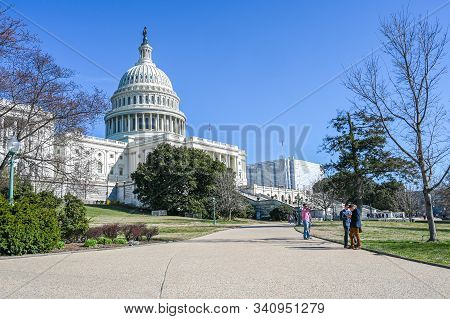 Washington Dc, Usa - March 27, 2019: United States Capitol And Capitol Hill Viewed From The National