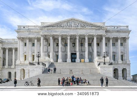 Washington Dc, Usa - March 27, 2019: The North Wing Of Us Capitol Building Housing The United States