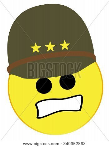 A  Tough Usa Army General Smile Face Button Isolated On A White Background