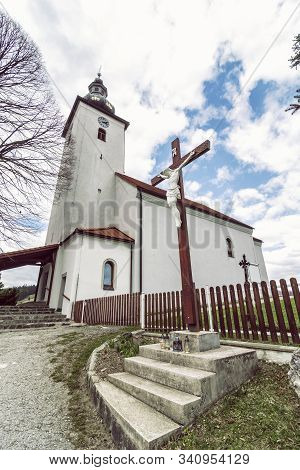 Church And Crucifixion Of Jesus Christ, Cicmany Village, Slovak Republic. Architectural Theme. Trave