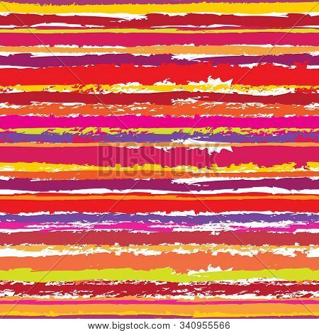 Vector Seamless Illustration Of Colored Striped Pattern In Grunge Style
