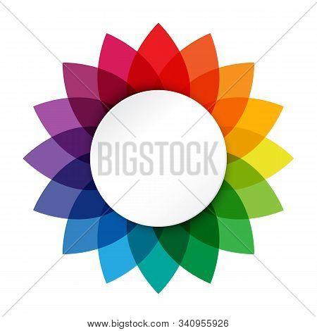 Vector Illustration Of Rainbow Flower Logo On White Background