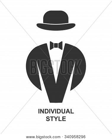 Creative Men's Fashion Brand. Tailcoat With Bow Tie And Bowler Hat. Flat Style. Isolate On White Bac