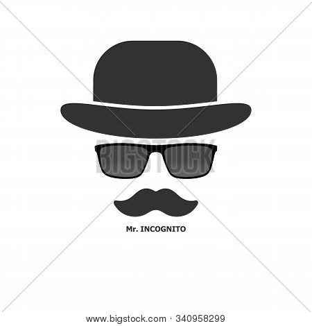 Creative Men's Style. Bowler Hat With Glasses And Mustache. Gentleman Icon