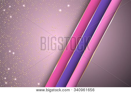 Gold Halftone Dots And Inclined Ribbon Stripes Banner Vector Design. Royal Banner Background Templat