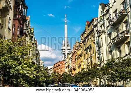 Prague.czech Republic.august 27, 2019.streets And Squares On The Background Of Zizkov Tv Tower In Pr