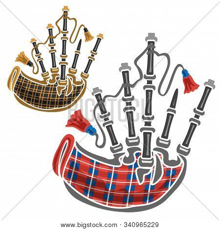 Vector Set Of Scottish Bagpipes, 2 Cut Out Illustrations Of Classical Different Bagpipes Leather And
