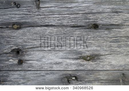 Texture Of Old Wood Plank Closeup. Harvesting Texture For Design. Background From A Textural Gray Bo