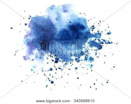 Abstract Watercolor Background. Shapeless Cloud. A Lot Of Blue Shades Gradient From Bright To Satura