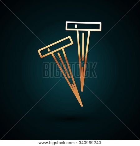 Gold Line Pegs For Tents Icon Isolated On Dark Blue Background. Extreme Sport. Sport Equipment. Vect